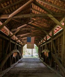 Bartram Bridge Interior with American Flag Hanging from Rafters